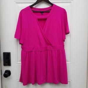 Torrid short flutter sleeve blouse top deep pink 2